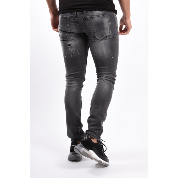 Y Skinny Fit Stretch Jeans Grey washed with splashes