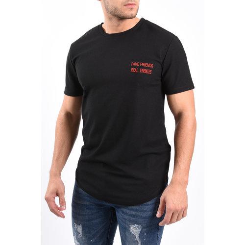 """Y T-shirt """"fake friends real enemies"""" Black"""