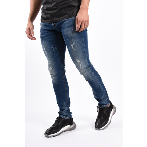 Y Skinny Fit Stretch Jeans Blue With Yellow / White Splashes