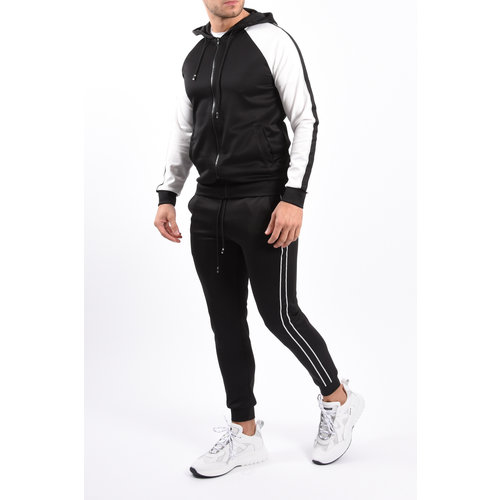 Y Tracksuit black taped Black / White