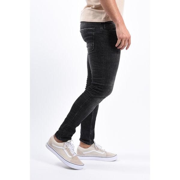 Y Skinny Fit Stretch Jeans Black with Black Splashes
