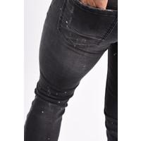 Y Skinny Fit Stretch Jeans Black Washed & Splashed