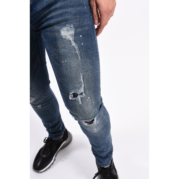 Y Skinny Fit Stretch Jeans Blue with splashes & shredz