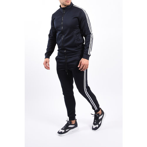 Y Tracksuit black/white striped Blue