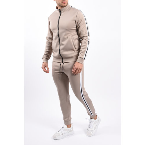 Y Tracksuit black/white striped Beige