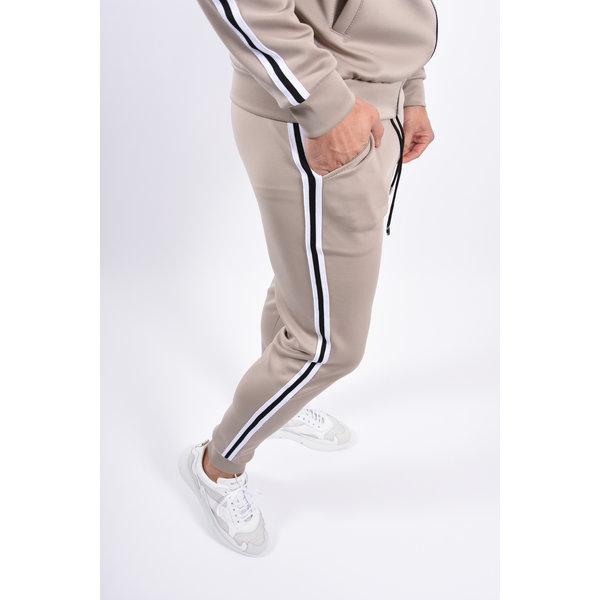 Y Tracksuit black/white striped Beige