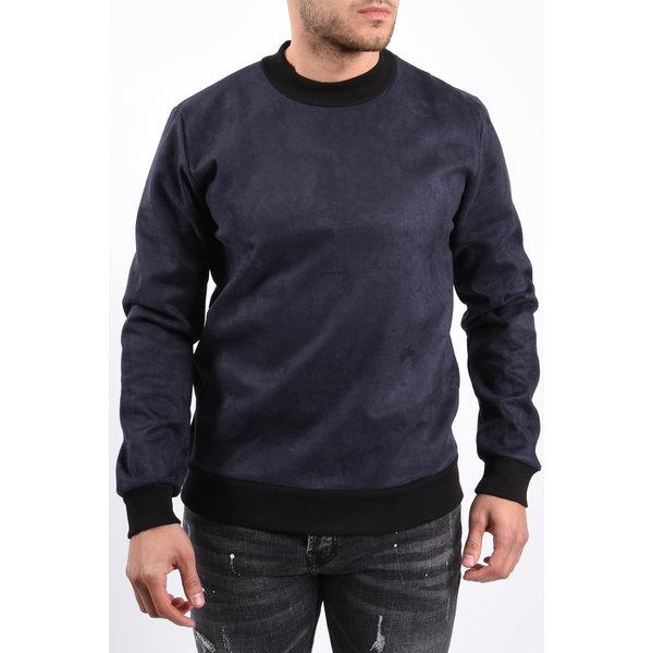 Y Sweater crew neck suede look Blue