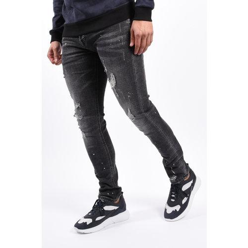 Y Skinny Fit Stretch Jeans Black with splashes & shredz