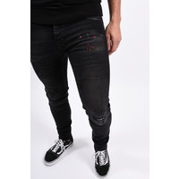 Y Skinny Fit Stretch Jeans Black with red splashes