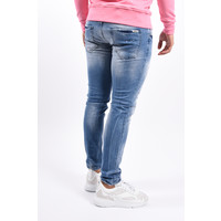 Y Skinny Fit Stretch Jeans Light Blue with pink/white splashes