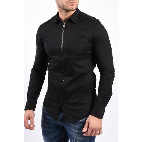 Y Zipper blouse Black