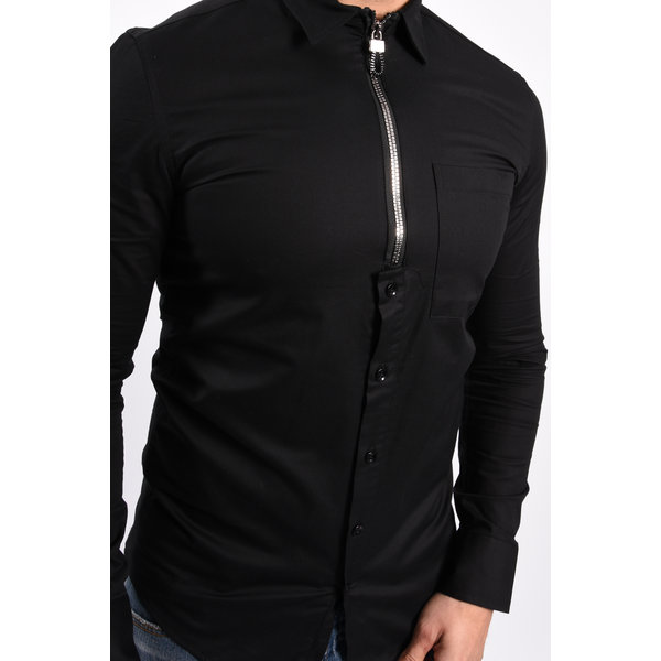 Y Zipper blouse Black