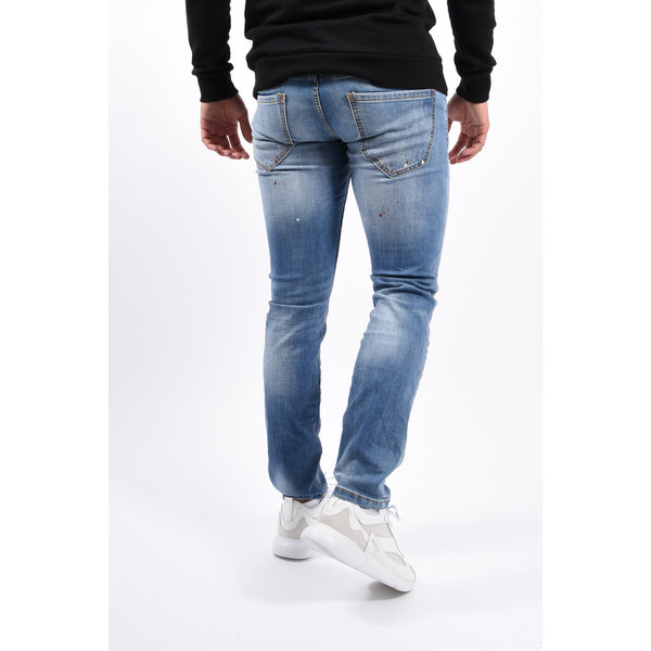 Y Skinny fit stretch jeans Light blue with red splashes