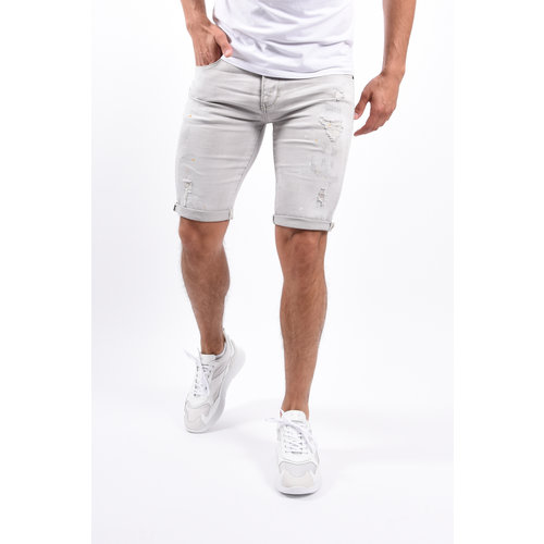 Y Jeans shorts Light Grey with orange/white splashes