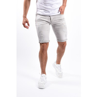 Y Jeans shorts Light Grey with orange/white splashes