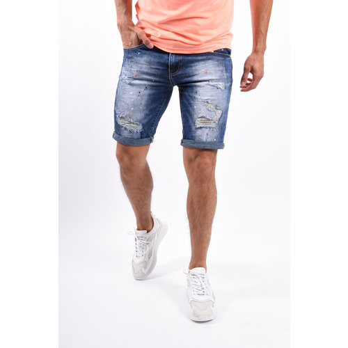 Y Jeans Stretch Shorts Blue / white oranje splashes