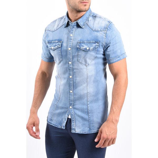 Y Denim stretch short sleeve blouse Blue