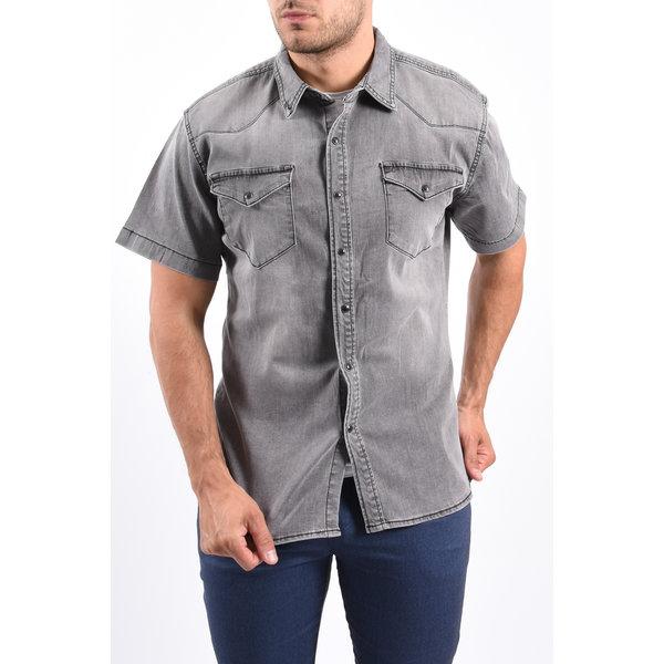 Y Denim stretch short sleeve blouse Grey