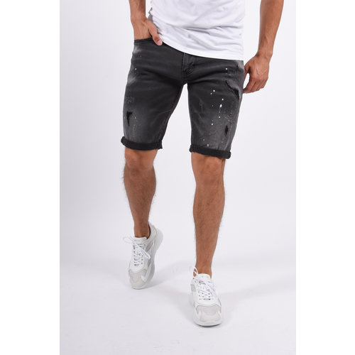 Y Jeans Shorts Black with red/white splashes