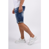 Y Jeans Shorts Blue with red/white splashes