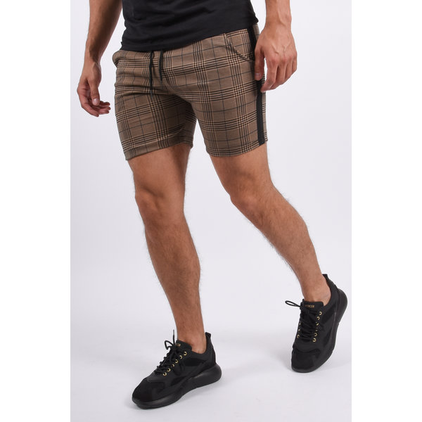 Y YUGO Checkered Shorts Brown