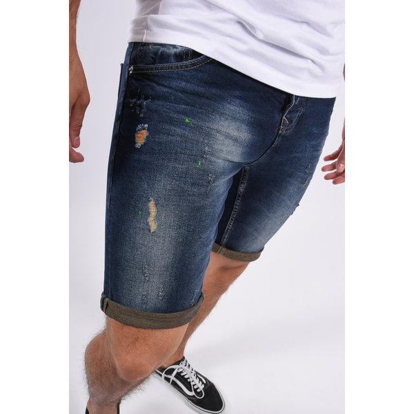 Y Jeans shorts stretch Dark Blue with green splashes