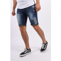 Y Jeans shorts stretch Dark Blue with red splashes