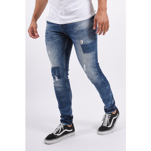 Y Skinny fit stretch jeans Blue with white&red splashes