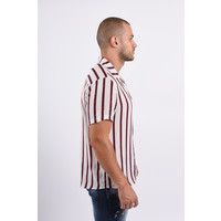 Y Blouse SS White with black/red stripes