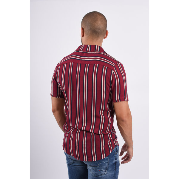Y Blouse SS Dark Red with black/white stripes