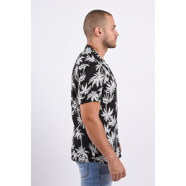 Y Blouse SS Palm Trees black/white
