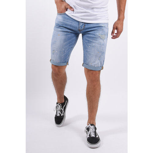 Y Jeans Shorts Light Blue with white/yellow splashes