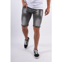 Y Jeans Shorts Stretch Dark Grey with pink splashes