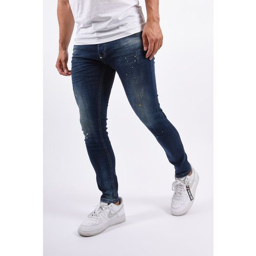 Y Skinny Fit Stretch Jeans Dark Blue With yellow/white splashes
