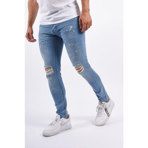 Y Skinny Fit Stretch Jeans Light Blue Shredded / Splashes