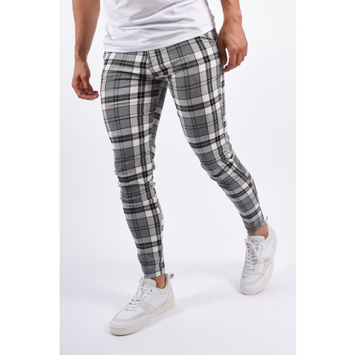Y Checkered Stretch Pantalon Black / Grey