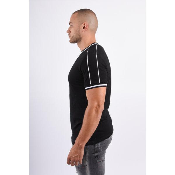 Y T-shirt Striped Details Black