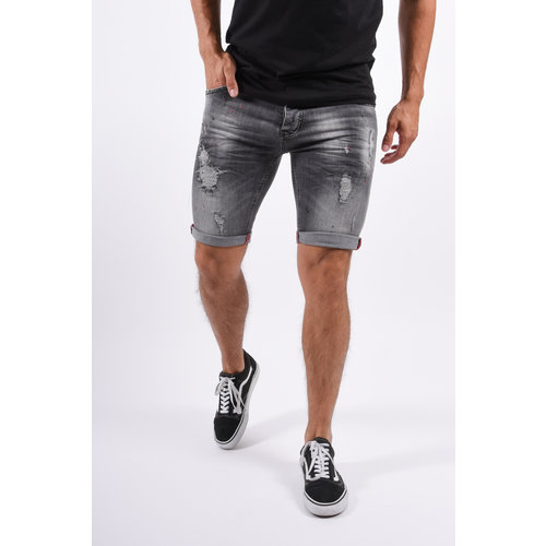 Y Jeans Stretch Shorts Grey with Red/Black Splashes