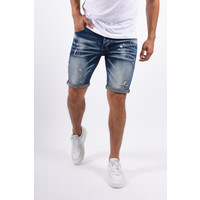 Y Jeans Stretch Shorts Dark Blue with Splashes