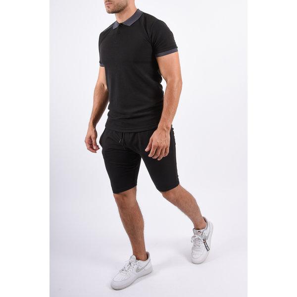 Y Two Piece Set Polo + Shorts Black / Grey