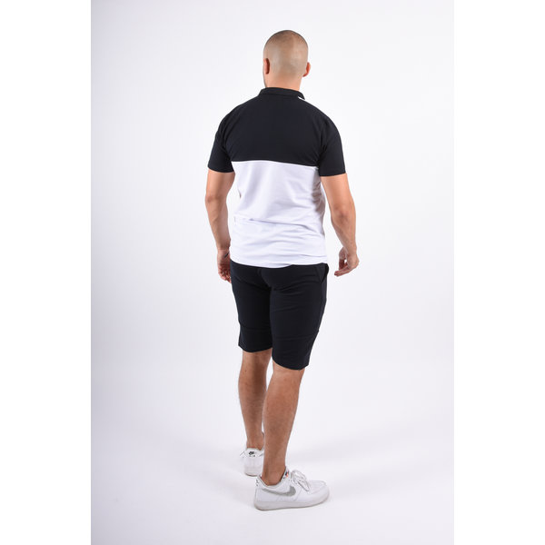 Y Two Piece Set Polo + Shorts Black / white / Red