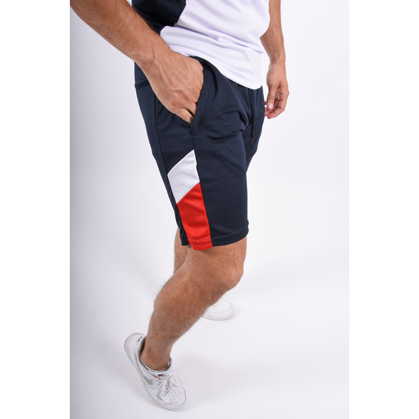 Y Two Piece Set Polo + Shorts Blue / White / Red