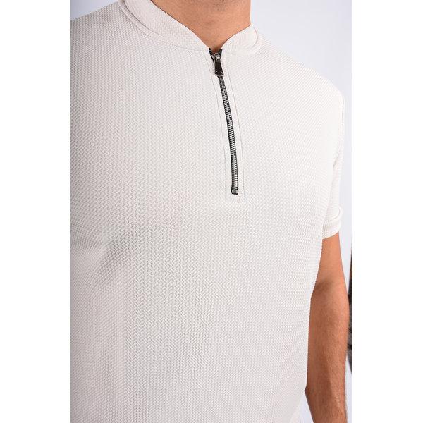 Y Zipper Shirt Beige