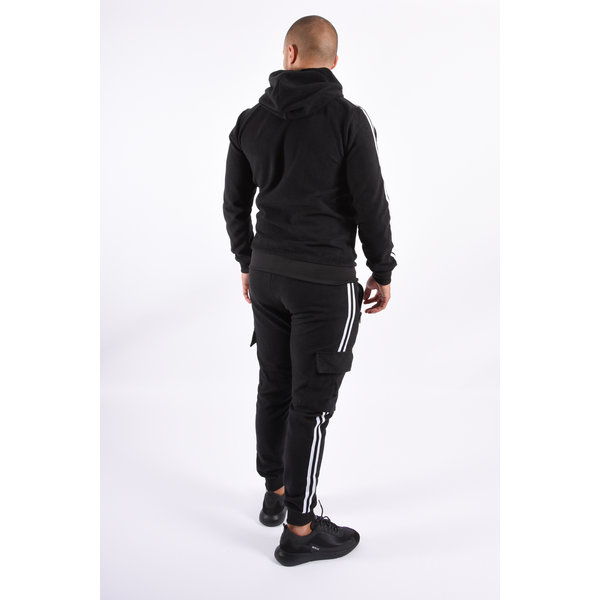 Y Tracksuit Plush Cargo Striped  Black
