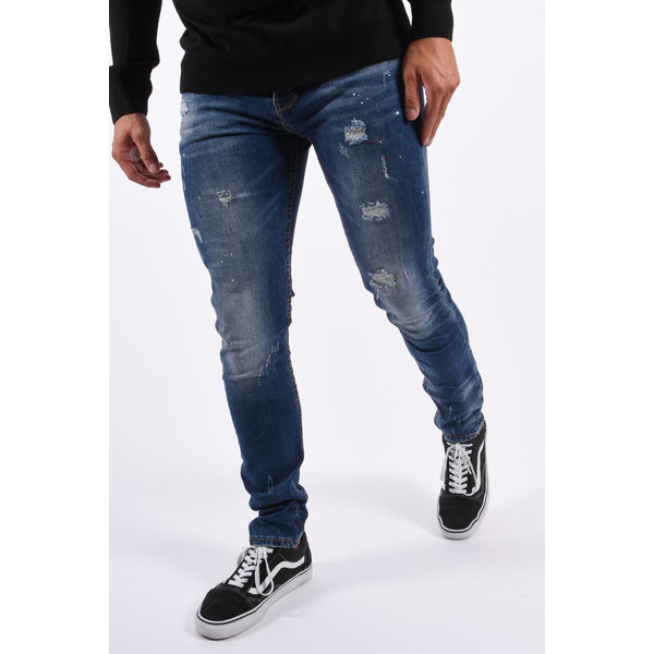 Y Skinny Fit Stretch Jeans Blue with Red/white splashes