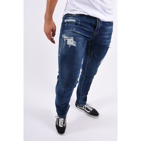 Y Skinny Fit Stretch Jeans Dark Blue with Yellow / White splashes
