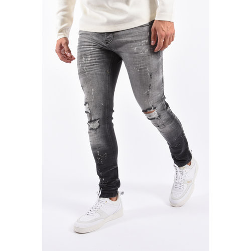 Y Skinny Fit Stretch Jeans Grey destroyed splashed