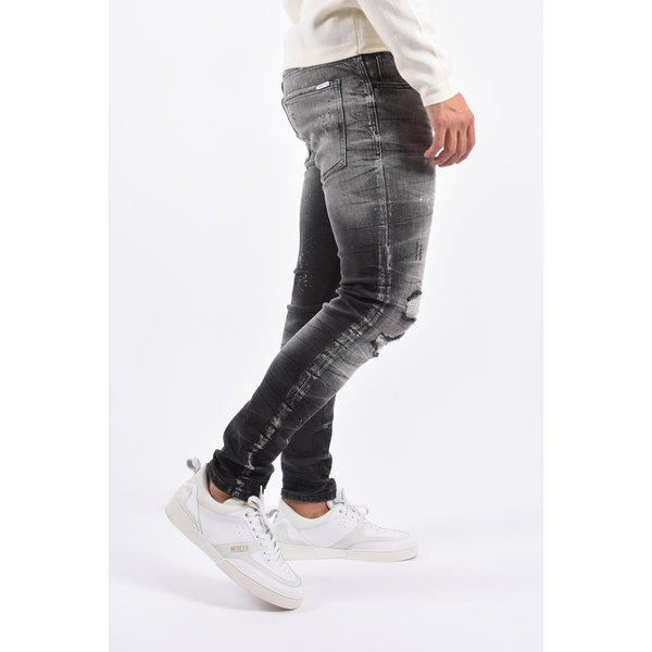 Y Skinny Fit Stretch Jeans Grey destroyed splashed