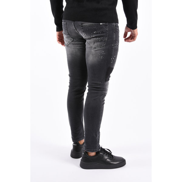 Y Skinny Fit Stretch Jeans Black washed / Splashed