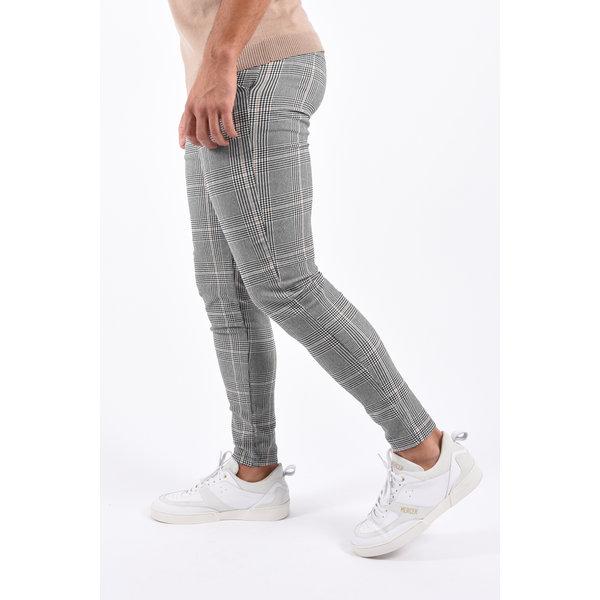 Y Checkered Stretch Pantalon Grey / Beige